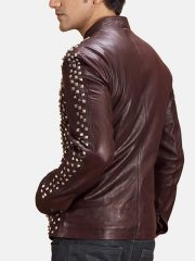 Men's Snap Tab Brown Studded Leather Jacket