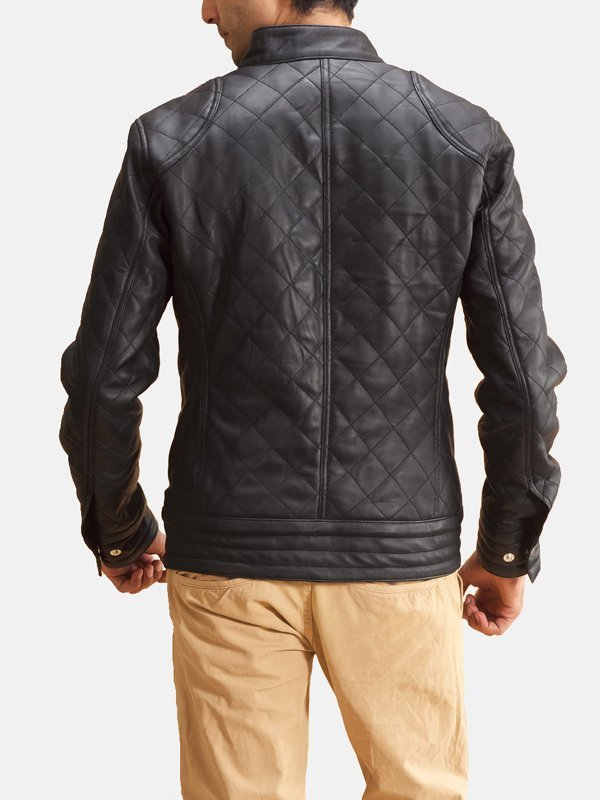 Mens Snap Tab Collar Quilted Black Leather Jacket