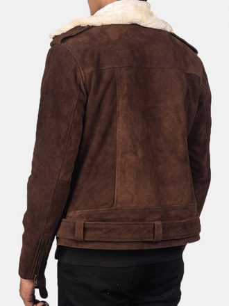 Men's Suede Leather Brown Biker Jacket