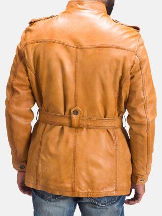 Men's Tan Brown Faux Fur Leather Jacket
