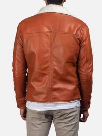 Mens Tan Brown Shearling Leather Jacket