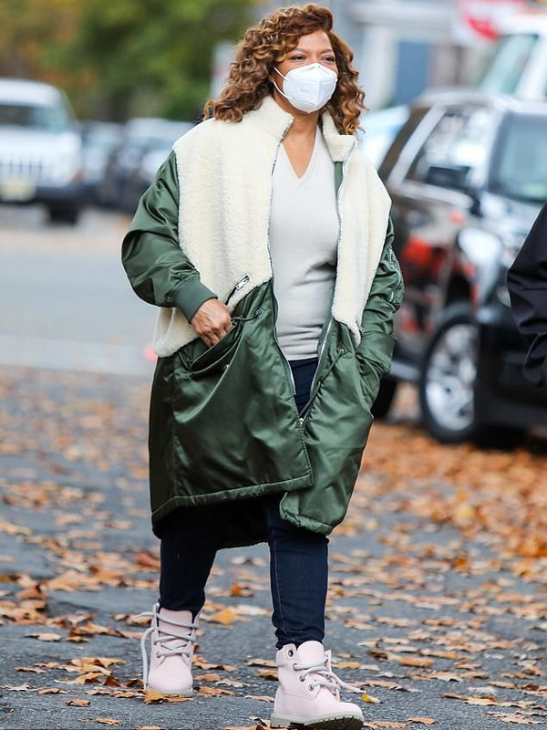 Queen Latifah The Equalizer Robyn Mccall White & Green Long Shearling Coat