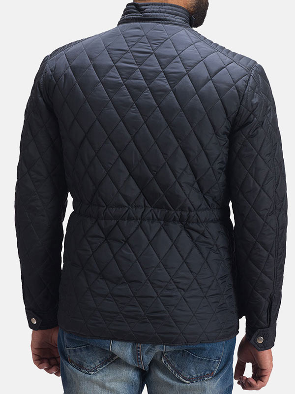 Quilted Style Black Windbreaker Jacket For Men's