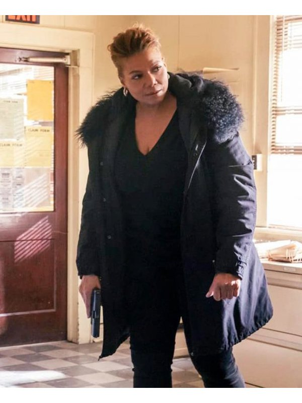 Robyn McCall The Equalizer Queen Latifah Fur Collar Black Coat