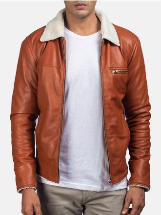 Tan Shearling Leather Jacket Mens