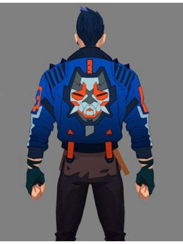 Video Game Valorant Yoru Leather Blue Jacket