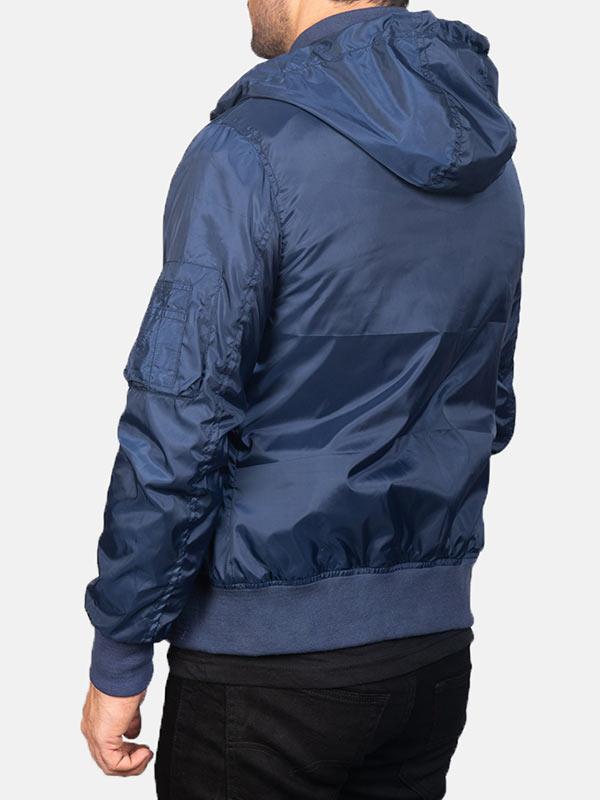 Zip Up Style Hooded Blue Bomber Jacket Men