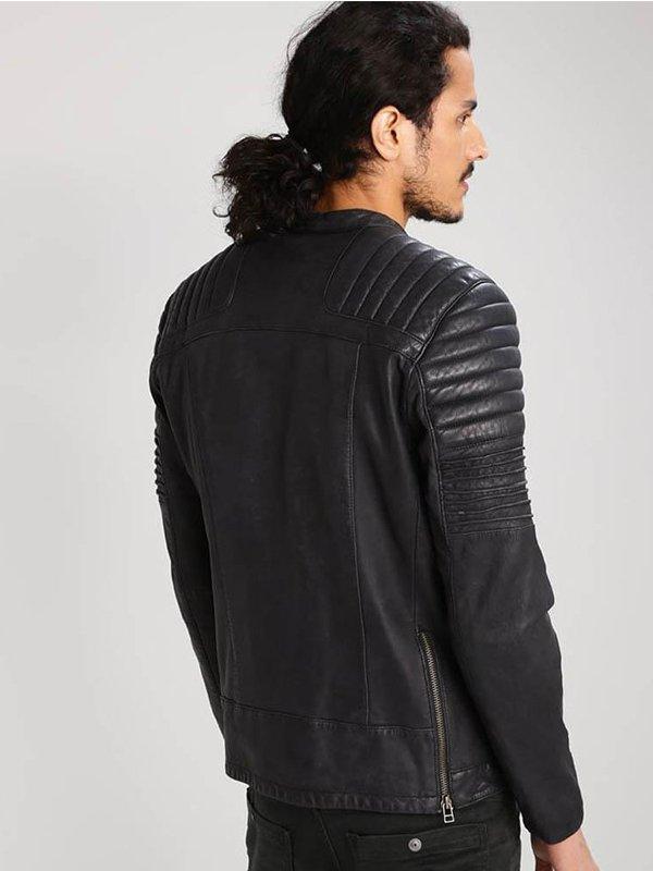 Black Quilted Design Leather Moto Jacket For Mens