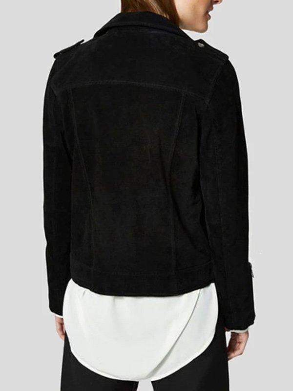 Black Suede Leather Biker Jacket For Womens
