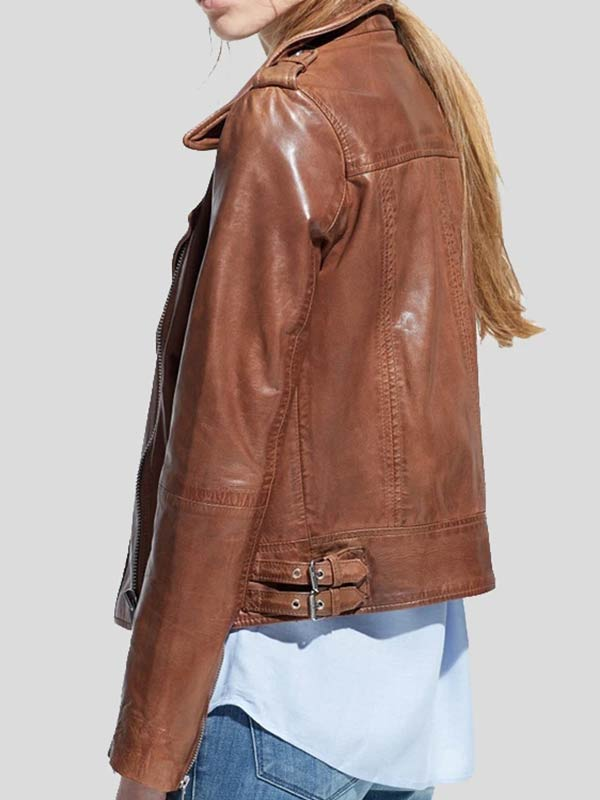Brown Leather Motorcycle Jacket For Womens