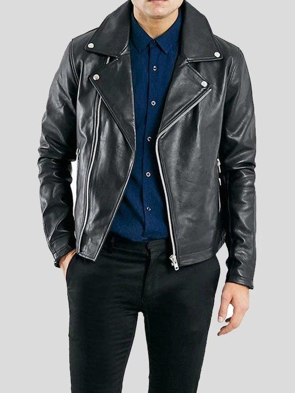 Black Leather Motorcycle Jacket For Men's