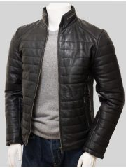 Casual Wear Mens Quilted Leather Jacket
