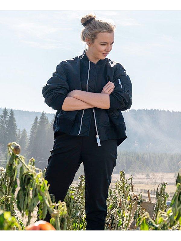 Jodie Comer Tv Series Killing Eve S03 Villanelle Black Bomber Jacket