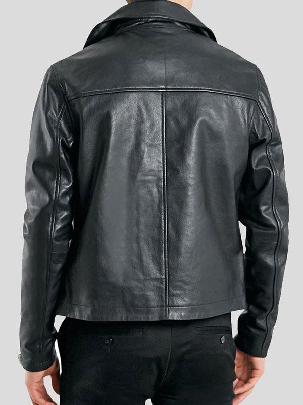 Men's Black Leather Motorcycle Wear Jacket
