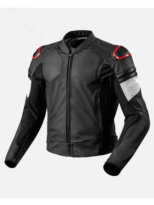 Men's Black Racer Leather Motorcycle Jacket