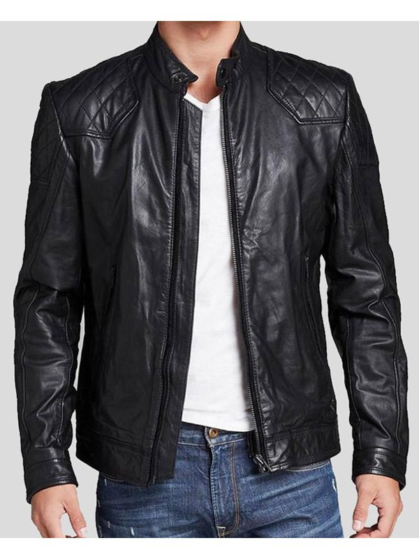 Mens Casual Style Quilted Leather Jacket