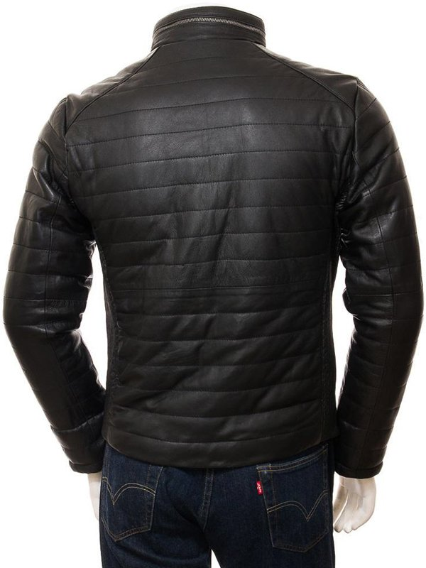 Mens Casual Wear Black Quilted Leather Jacket With Standing Collar