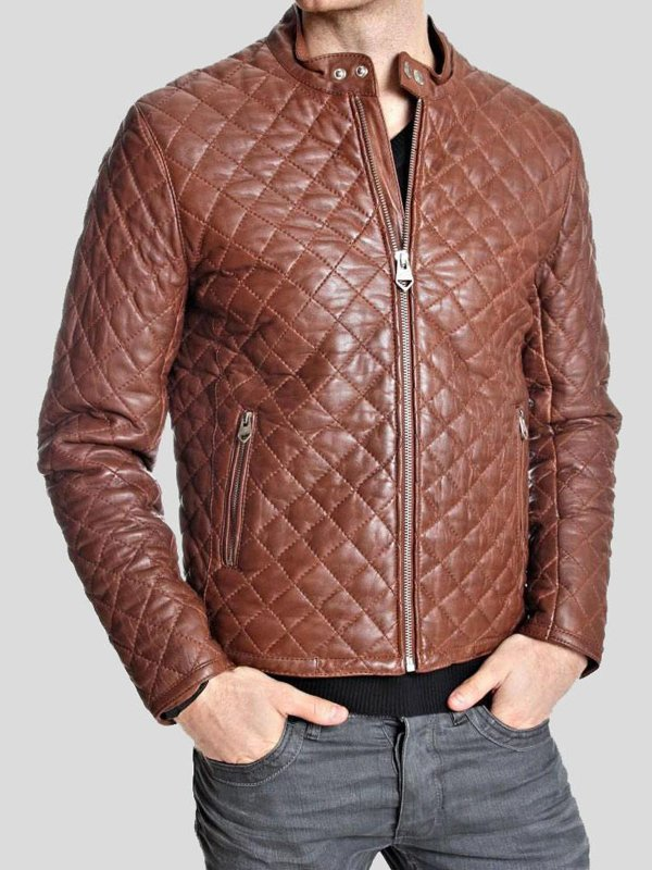 Mens Diamond Quilted Leather Jacket