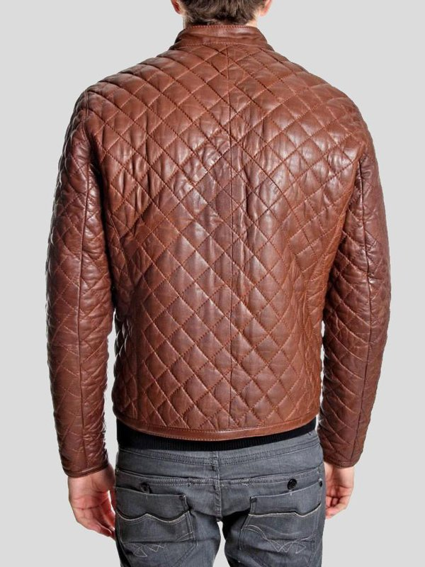 Mens Diamond Quilted Style Brown Leather Jacket