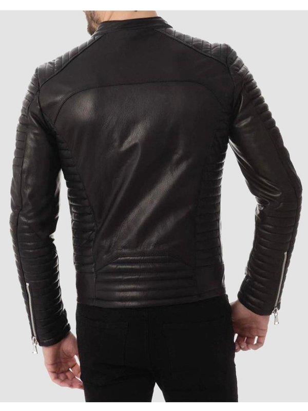 Mens Four Pockets Quilted Black Leather Jacket