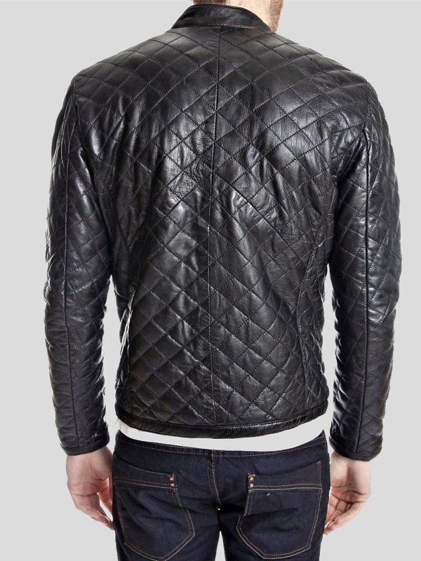 Mens Quilted Style Black Leather Jacket With Snap Tab Collar
