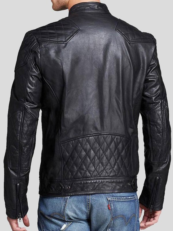 Mens Quilted Style Casual Black Leather Jacket