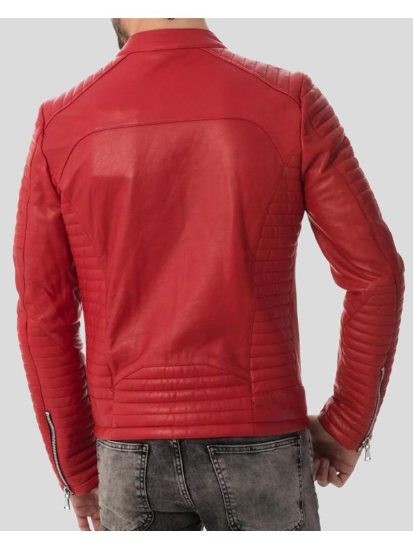 Mens Red Quilted Four Zipper Leather Jacket