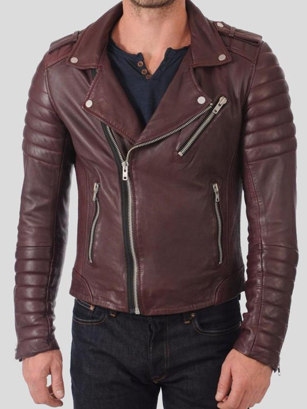 Mens Slim Fit Quilted Leather Jacket