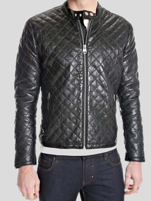 Mens Snap Tab Collar Quilted Leather Jacket