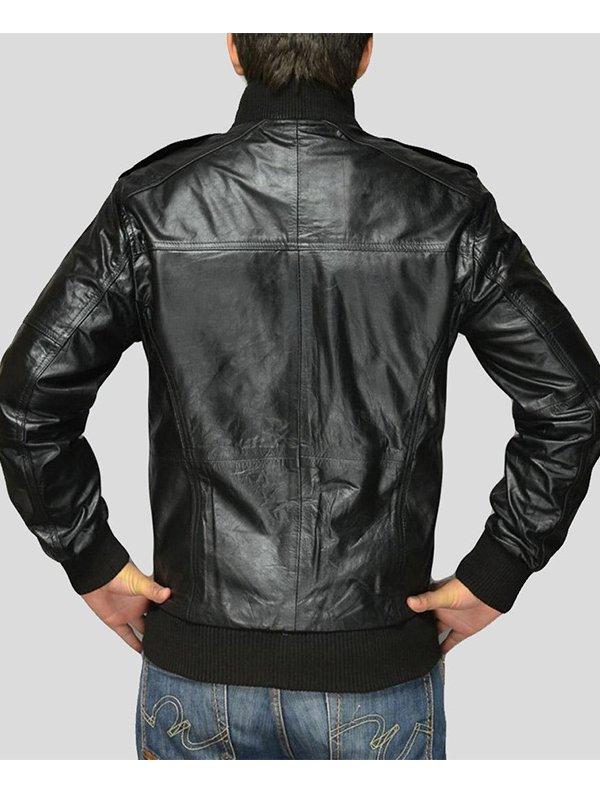 Mens Standing Collar Black Leather Bomber Jacket