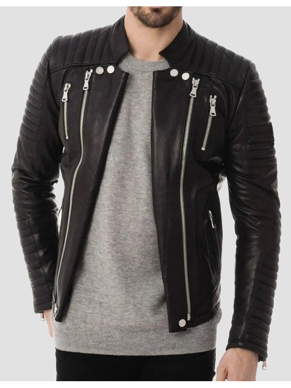Mens Zipper Pockets Quilted Leather Jacket