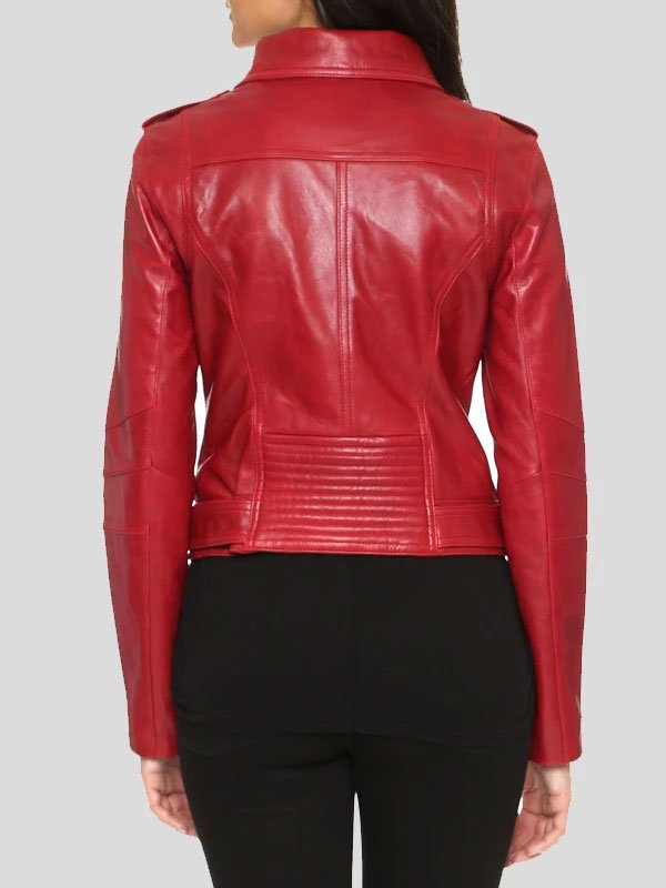 Moto Racer Red Biker Leather Jacket For Womens