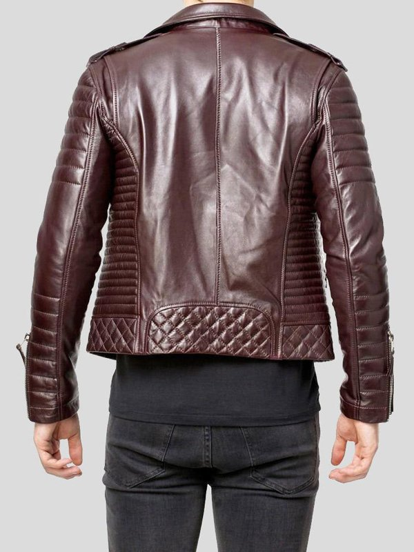 Quilted Brown Motorcycle Leather Jacket For Mens