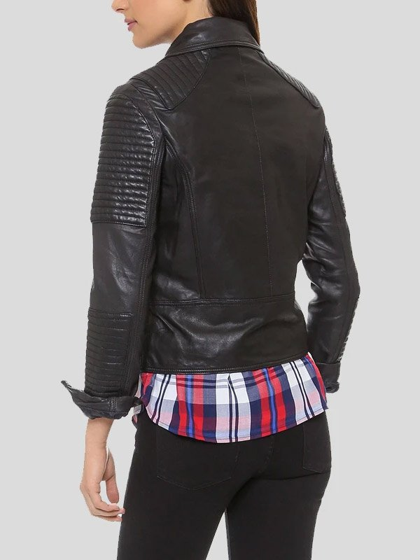 Quilted Design Black Motorcycle Leather Jacket For Womens