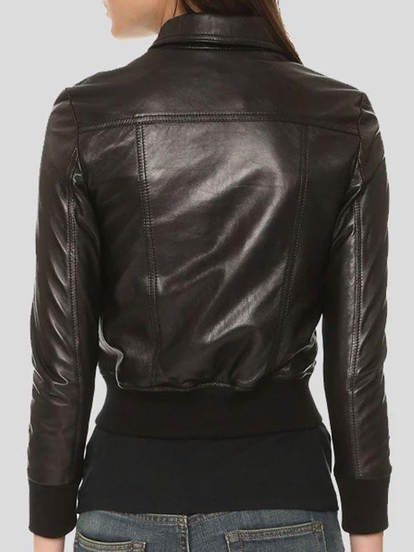 Shirt Collar Bomber Black Leather Jacket For Women's