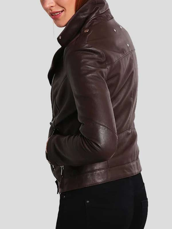 Slim Fit Brown Biker Leather Jacket For Women's