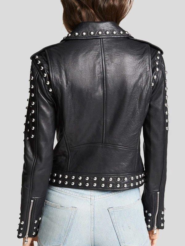 Studded Black Biker Leather Jacket For Women's