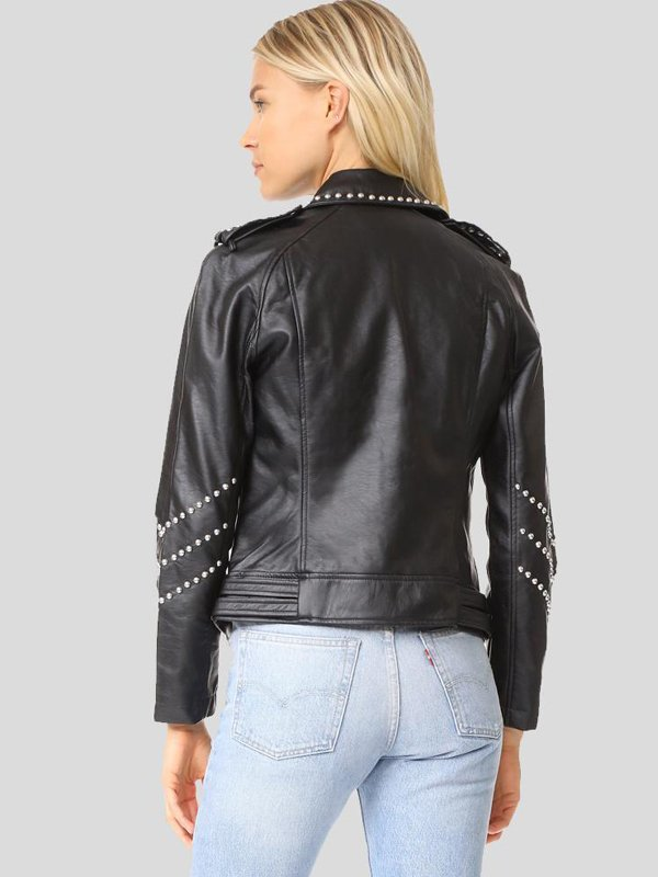 Studded Black Motorcycle Leather Jacket For Women's