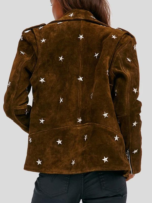 Studded Brown Suede Moto Leather Jacket For Womens