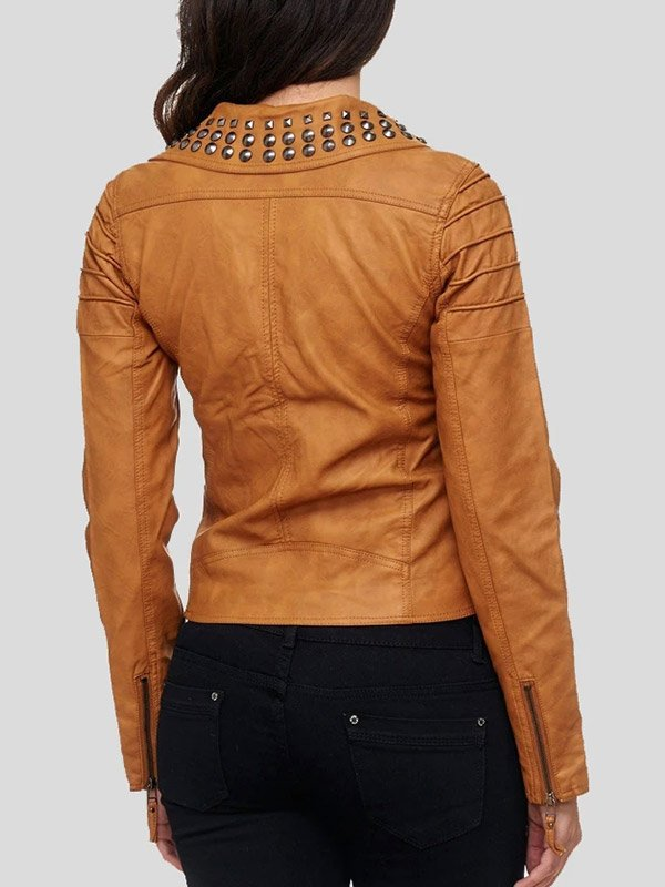 Tan Brown Leather Biker Studded Jacket For Womens