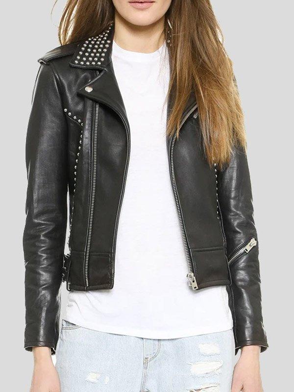 Womens Biker Studded Leather Jacket