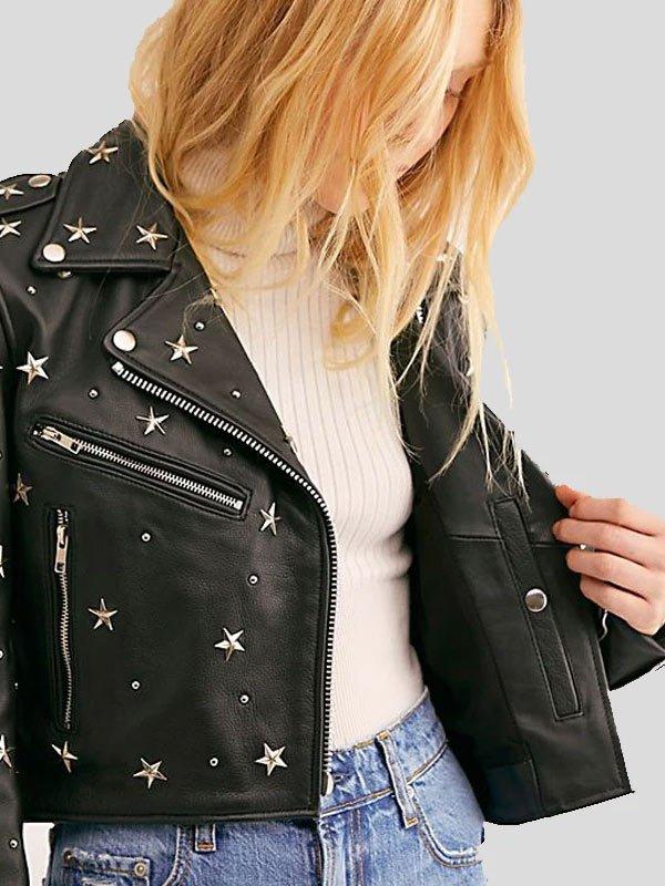Womens Biker Style Cropped Black Studded Leather Jacket