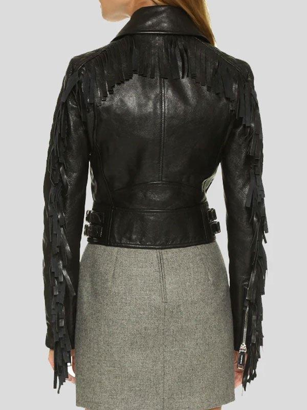 Womens Black Cropped Leather Motorcycle Jacket With Fringe