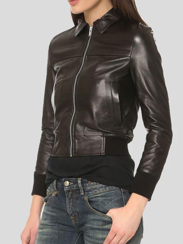 Womens Black Leather Bomber Jacket