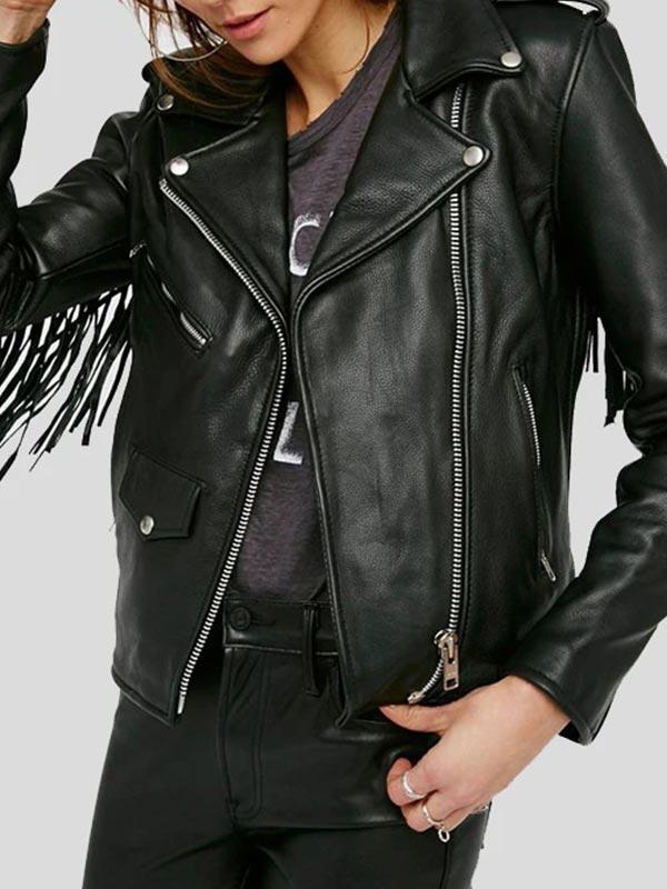Womens Black Leather Fringe Jacket