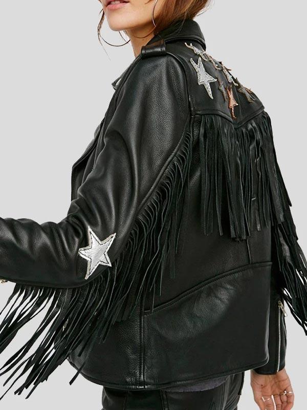 Womens Black Leather Motorcycle Jacket With Fringe