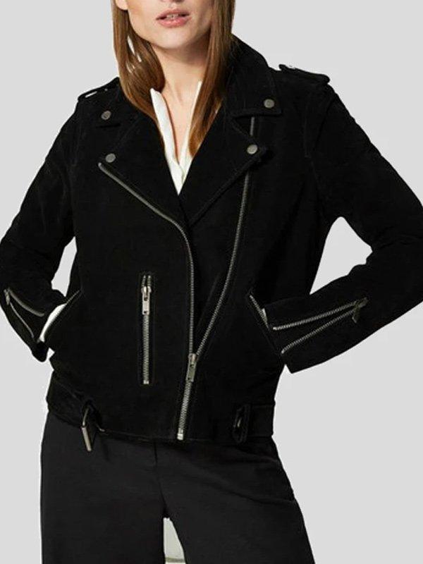 Womens Black Suede Biker Jacket