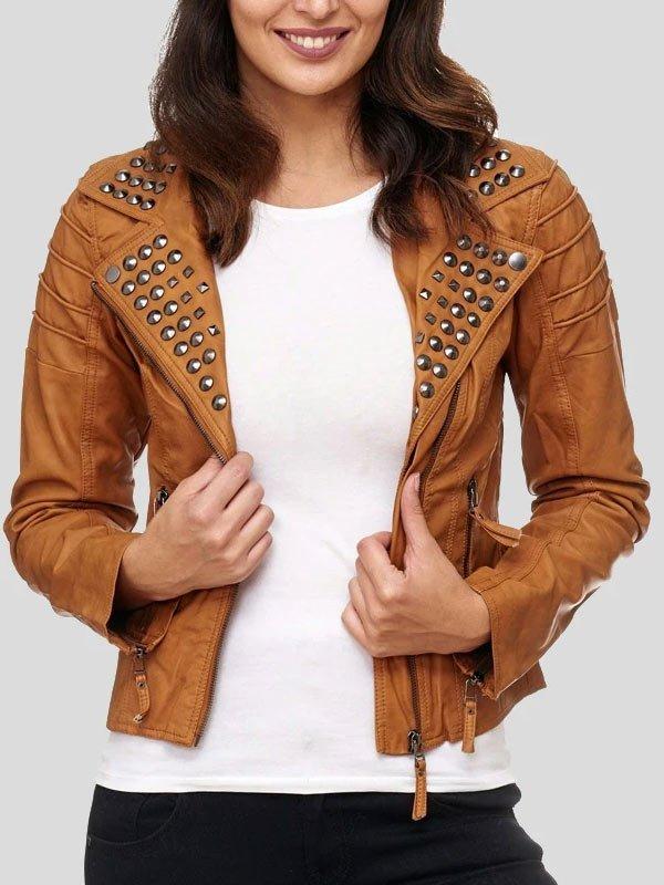 Womens Brown Studded Biker Leather Jacket