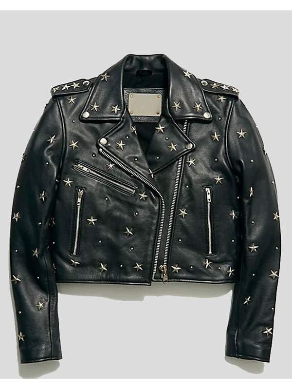 Womens Cropped Studded Leather Jacket