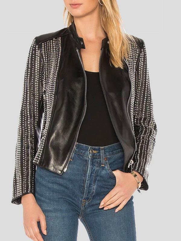 Womens Fashion Studded Leather Jacket